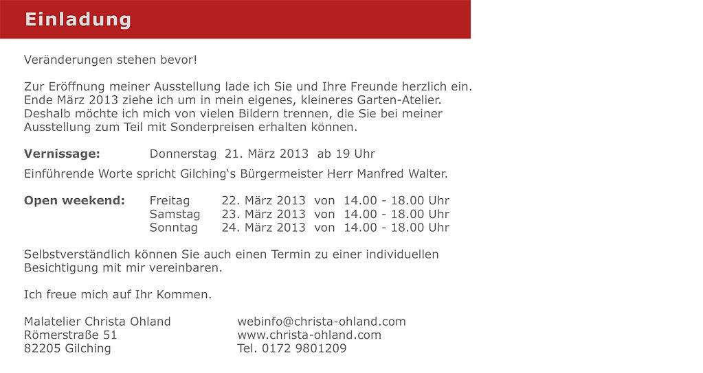 Einladungstext Werkschau 2013